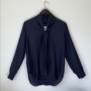 Any Taylor Navy Blue Customizable Tie Up Blouse